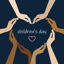 Human Hands With Different Skin Colors Form A Heart For Childrens Day Vector Illustration EPS10