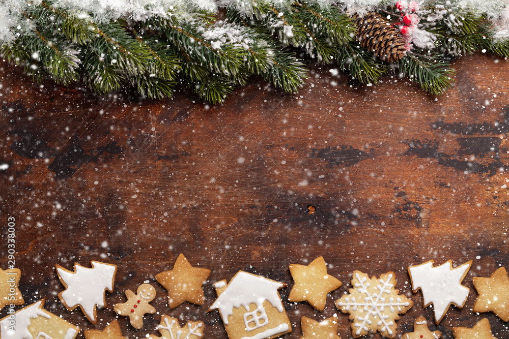 Fototapety, obrazy: Christmas greeting card with gingerbread cookies