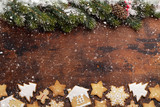 Christmas greeting card with gingerbread cookies