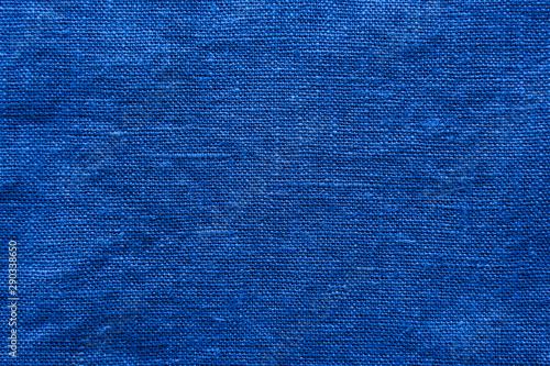 Canvas Prints Macro photography Blue linen cloth texture. Natural fabric material background