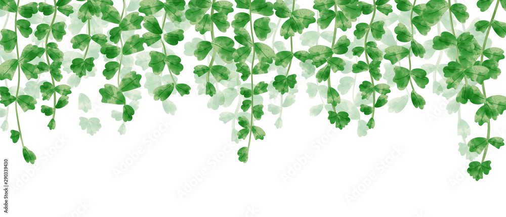 Fototapety, obrazy: Wallpaper of hanging leaves in green watercolor illustration.