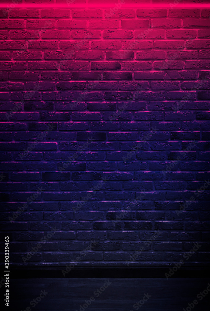 Fototapety, obrazy: Brick wall, background, neon light