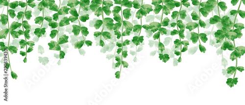 Fotografia  Wallpaper of hanging leaves in green watercolor illustration.