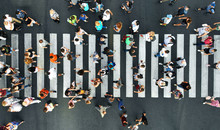 Aerial. Pedestrians On Pedestr...