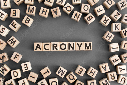 acronym - word from wooden blocks with letters, use of acronyms in the modern wo Canvas Print