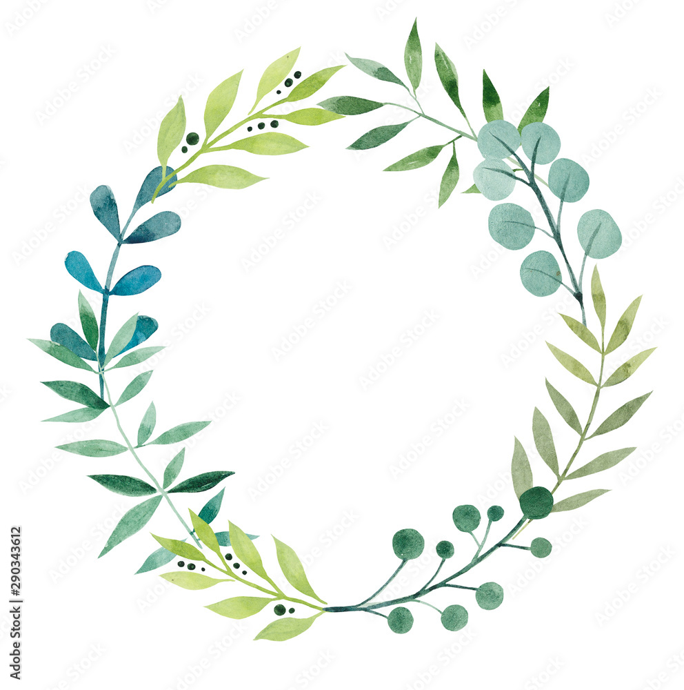 Fototapety, obrazy: Frame from leaves. Watercolor hand drawn illustration. White background