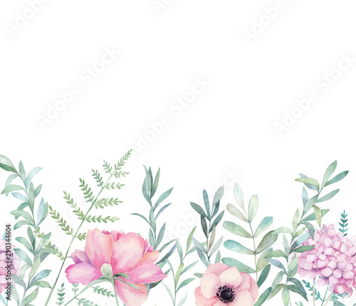 Photo Watercolor seamless pattern with eucalyptus branch, fern and hydrangea