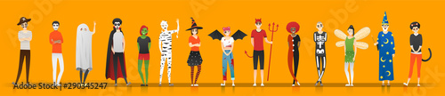 Happy Halloween , group of teens in Halloween costume concept isolated on orange Fototapeta