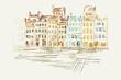 Rysynek ręcznie rysowany. Widok na starówkę w Warszawie w Polsce