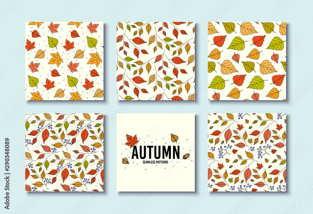 Fototapeta Autumn textures. Vector design for card, poster, flyer. Trendy hand drawn seamless patterns. Fall leaf textures. Floral flyer decoration. Background with autumn leaves. Leaf design. Seamless vector