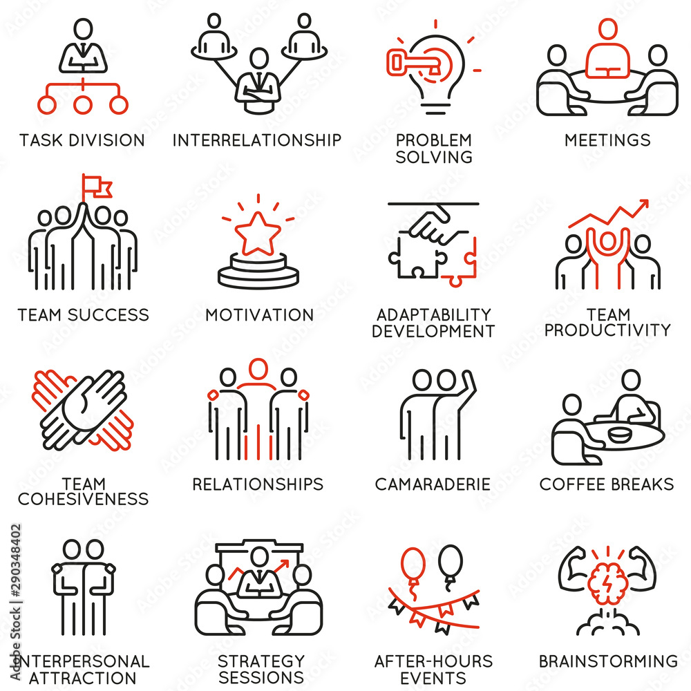 Fototapeta Vector set of linear icons related to team work, team leader and human resource management. Mono line pictograms and infographics design elements - part 2