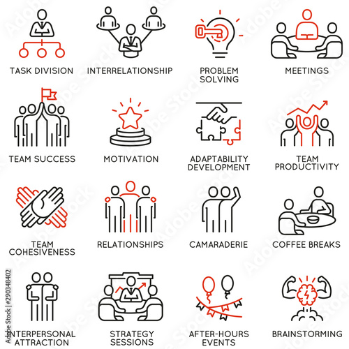 Valokuvatapetti Vector set of linear icons related to team work, team leader and human resource management