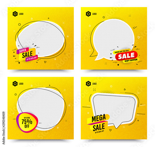 Promotion square web banner templates. Sale and discount promo backgrounds. Email newsletter layouts. Banner for social media mobile apps. Sale speech bubble templates. Vector layouts