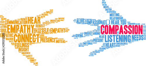 Fotografering Compassion Word Cloud on a white background.