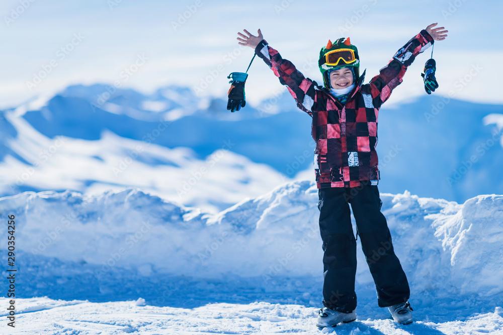 Fototapeta Active Boy Enjoying Winter Landscape