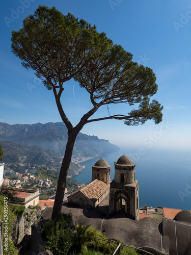 Fototapety, obrazy: Ravello Campania Italy-May 2019: The Villa Rufolo in Ravello has fantastic views down the Amalfi Coast from its gardens and terraces.Wagner wrote some of his operas staying at the Villa Rufolo