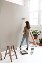 Girl Painting Background At Photo Studio