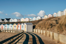 Colourful Beach Huts On The Seafront. Bude, Cornwall, UK.