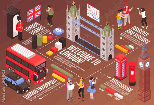 Fototapeta  Welcome To London Infographics Background