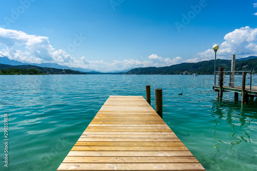 Dock at the Woerthersee in Carinthia, Austria