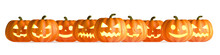Nine Halloween Pumpkins In A Row Isolated On White Background. 3D Rendering Illustration