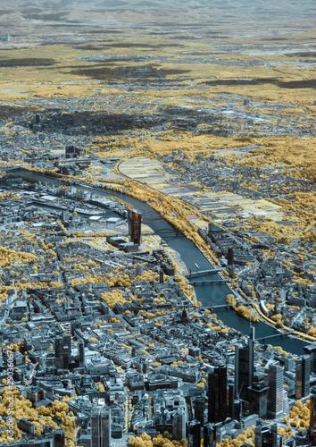 Aerial shot of city Frankfurt in germany, shot in Infrared IR - 290360676