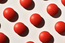 Red Pills Arrangement In Closeup