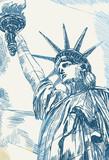 Fototapeta Nowy Jork - Rysynek ręcznie rysowany. Widok na statuę wolności w Nowym Jorku w USA.