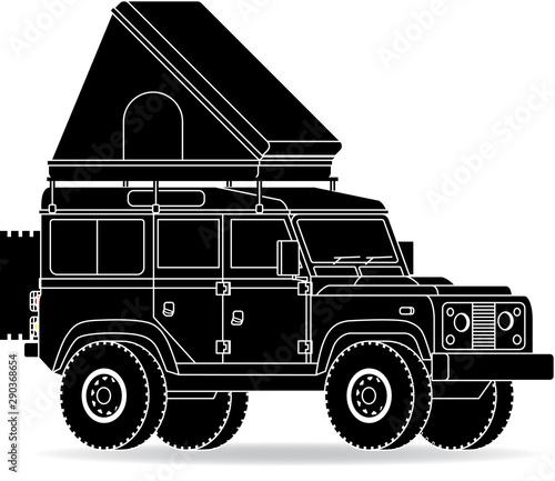 Jeep Dachzelt schräg Ansicht Canvas Print