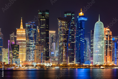 Doha city at night, Qatar, Middle East. Wallpaper Mural