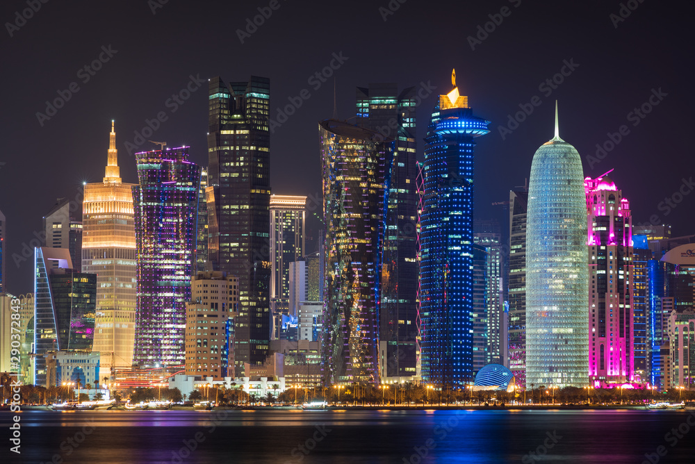 Fototapety, obrazy: Doha city at night, Qatar, Middle East.