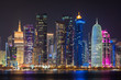 Doha city at night, Qatar, Middle East.