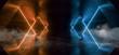 Leinwanddruck Bild - Smoke Sci Fi Neon Glowing Lights Orange Blue Laser Lines Cables Plugs Floor Lasers Studio Stage Show Night Retro Futuristic Modern Background Empty Concrete Grunge Virtual Dark 3D Rendering