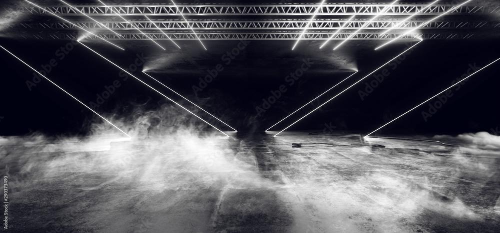Fototapeta Smoke Smoke Sci Fi Neon Glowing Lights Laser Lines Cables Plugs Floor Lasers Studio Stage Show Night Retro Futuristic Modern Background Empty Concrete Grunge Virtual Dark 3D Rendering