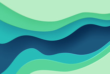 Paper Cut Banner With 3D Slime Abstract Background And Blue Green Waves Layers. Abstract Layout Design For Brochure And Flyer. Paper Art Vector Illustration