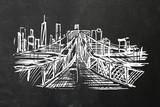 Fototapeta Nowy Jork - Rysunek kredą na tablicy szkolnej