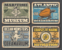 Octopus And Turtle, Compass And Sextant Posters