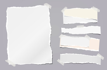 Torn white note, notebook paper strips stuck with sticky tape on dark grey background. Vector illustration