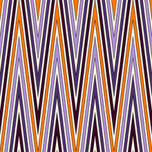 Seamless Pattern In Halloween Traditional Colors. Classic Geometric Ornament. Zigzag Horizontal Lines Wallpaper.