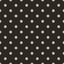 Soft Orange Polka Dot Seamless Pattern On Brown Background.