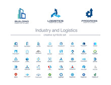 Industry And Logistics Creative Symbols Set. Construction, Transportation, Engineering Abstract Business Logo Concept. Building, House Icons. Corporate Identity Logotypes, Company Graphic Design