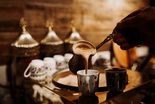 Turkish Coffee In The Cup. Traditional Turkish Coffee. Close Up