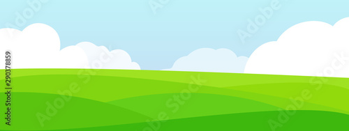 Bright cartoon summer fields landscape. - 290378859