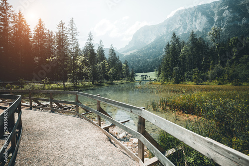Canvas Prints Trees Famous lake Hintersee. Location resort Ramsau, National park Berchtesgadener Land, Upper Bavaria, Germany Alps, Europe.