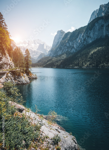 Fototapeta Vorderer Gosausee lake. Salzkammergut is a famous resort area located in the Gosau Valley in Upper Austria. obraz