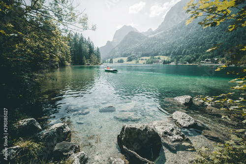Famous lake Hintersee. Location resort Ramsau, National park Berchtesgadener Land, Upper Bavaria, Germany Alps, Europe. - 290385027