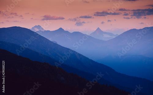 Foto auf AluDibond Lachs A look at the grand ridge at twilight. Location Upper Svaneti, Georgia country, Europe. Main Caucasian ridge.