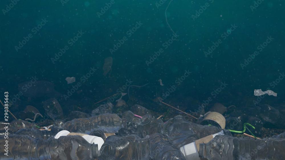 Fototapeta plastic pollution in ocean water, bottles and bags on the sea floor, micro plastic pollution