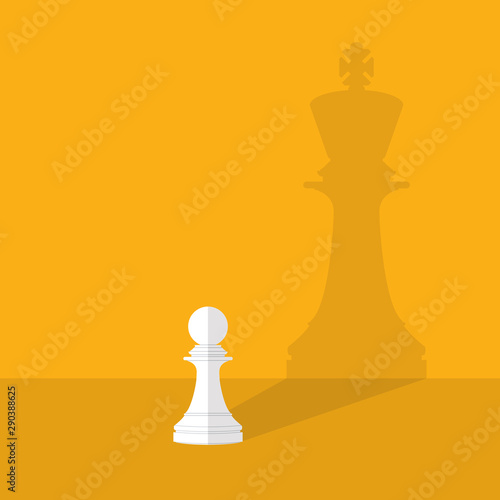 Fotografie, Obraz  Dream big. Vector chess pawn with shadow of the king