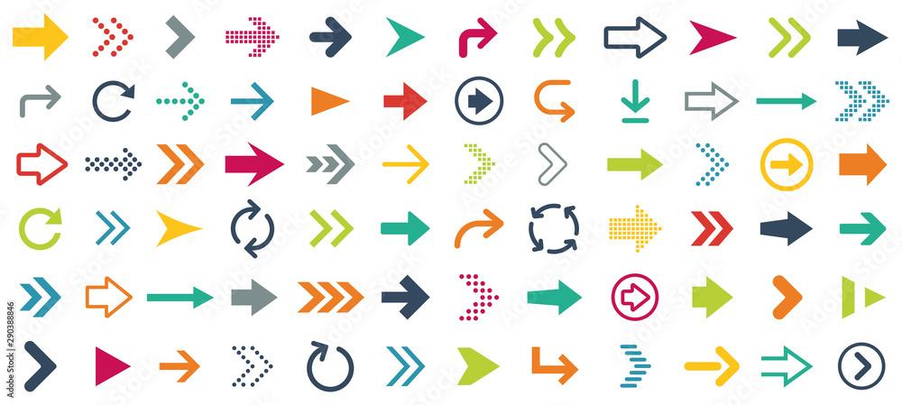 Fototapeta Arrow different icons set. Vector illustration